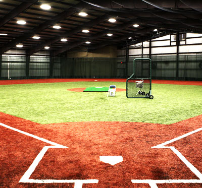 Indoor baseball astroturf field